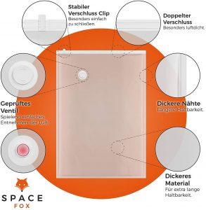 SpaceFox Vakuumbeutel Ventil, Verschluss, Material